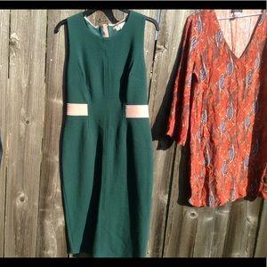 Boden green pink trim dress sheath